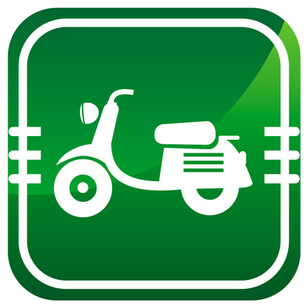 Scooter. Single green icon. Vector