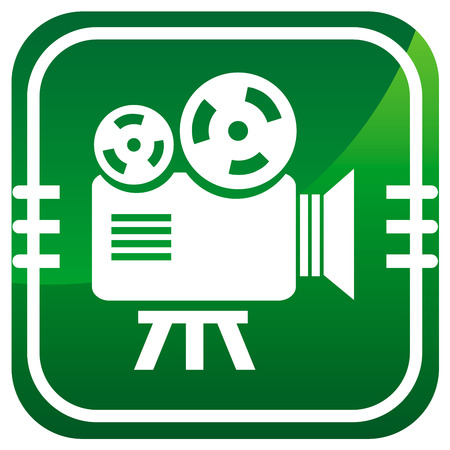 Videocamera. Green icon. Vector illustration. Vector
