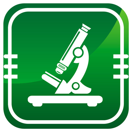 Microscope. Green icon. Vector illustration. Vector
