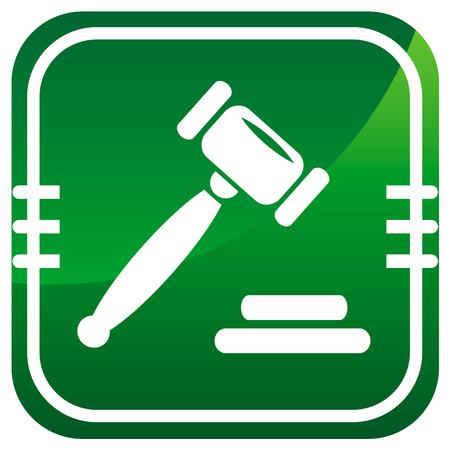 auction gavel: Auction gavel green icon. Illustration