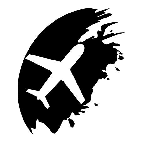 etiquette voyage: Avion - noir blot pointeur Illustration