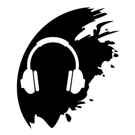 Vector headphones on black blob Vector