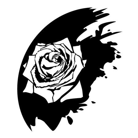 brie: Roos bloem design elementen. Zwarte blob Stock Illustratie