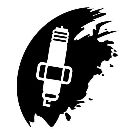 motor car candles: Spark plug on black blob Illustration