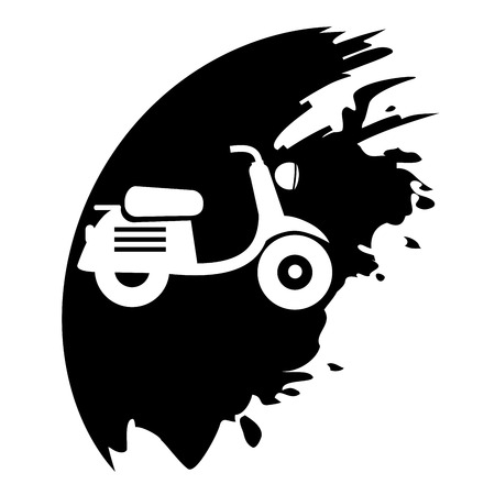 Scooter. Black blot. Vector