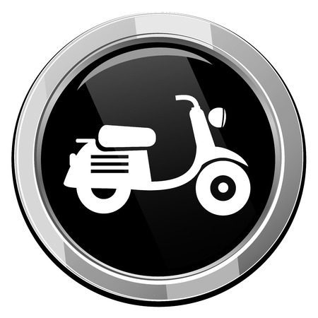 Scooter. Black round icon. Vector
