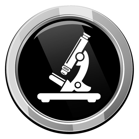 Microscope. Black round icon. Vector illustration. Vector