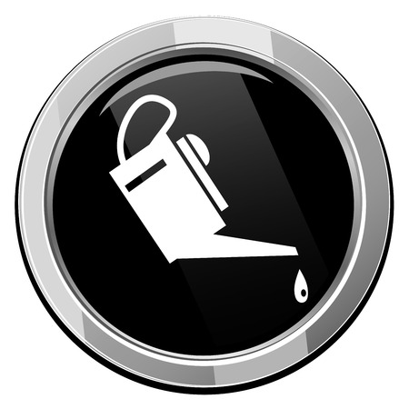 petrochemistry: Oiler - black round icon. Vector illustration.