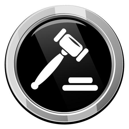 auction gavel: Auction gavel round black icon.