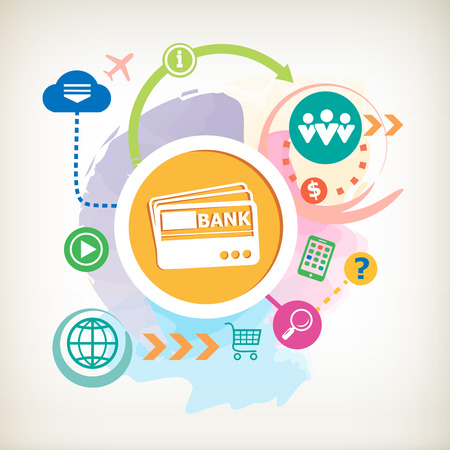 Bank cards and cloud on abstract colorful watercolor background with different icon and elements.  Vector