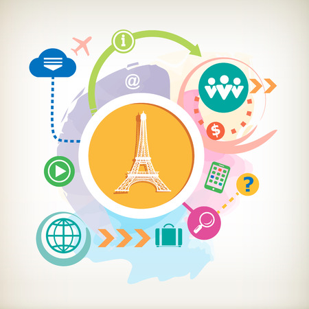 Eiffel tower and cloud on abstract colorful watercolor background with different icon and elements.  Vector