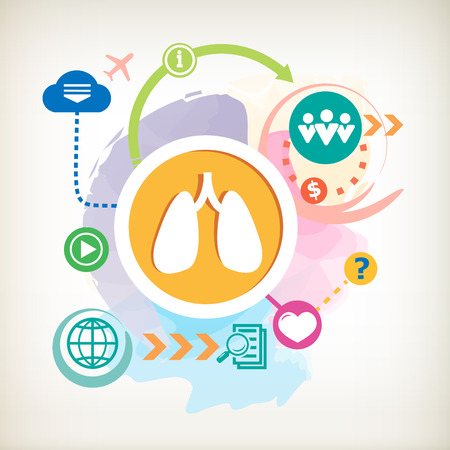 pulmones: Lungs and cloud on abstract colorful water color background with different icon and elements. Design for the print, advertising.