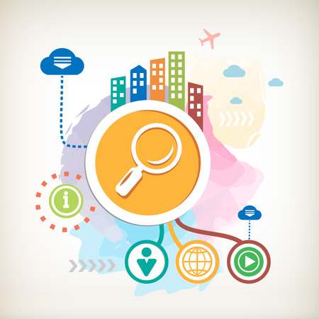 Magnifier and city on abstract colorful watercolor background with different icon and elements. Design for the print,  advertising.