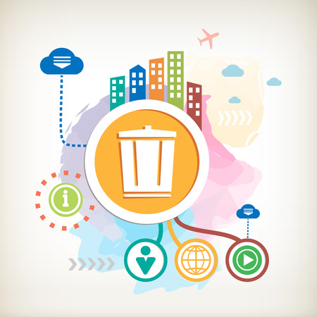 Recycle garbage can and city on abstract colorful watercolor background with different icon and elements.  Vector