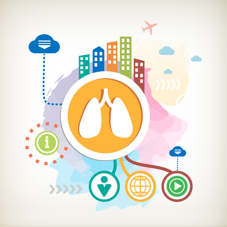 inhaling: Lungs and city on abstract colorful water color background with different icon and elements. Design for the print, advertising.