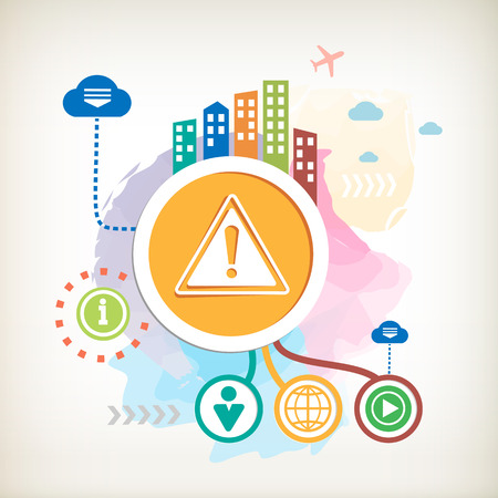 imperil: Danger warning and city on abstract colorful watercolor background with different icon and elements. Design for the print, advertising, banner.