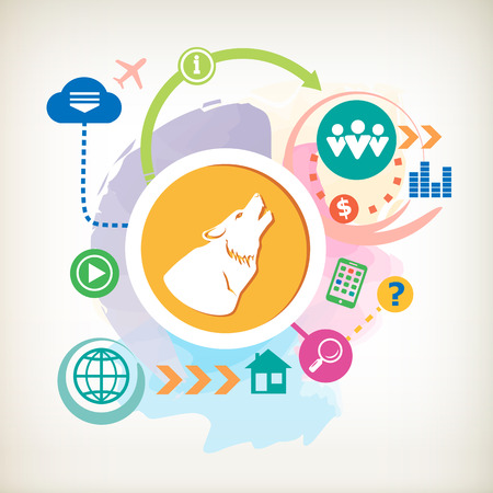 A wolf  and cloud on abstract colorful watercolor background with different icon and elements.  Vector