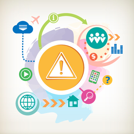 Danger warning and cloud on abstract colorful watercolor background with different icon and elements.  Vector