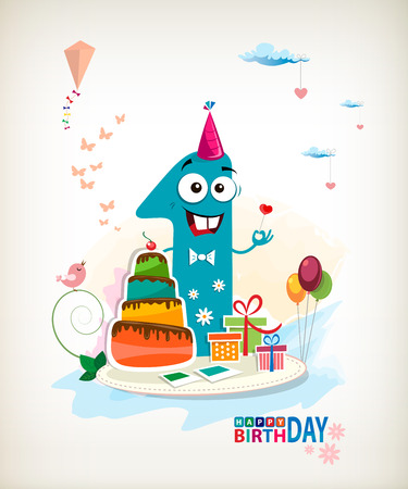 first birthday: First Happy Birthday color card. Illustration