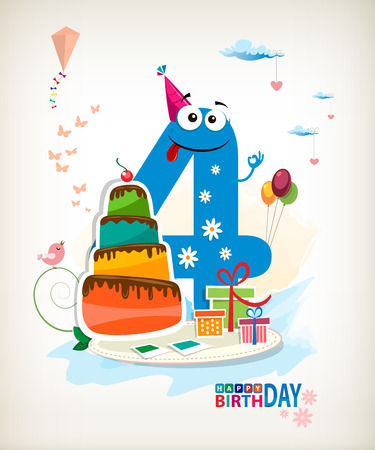 Fourth Birthday card. Vector