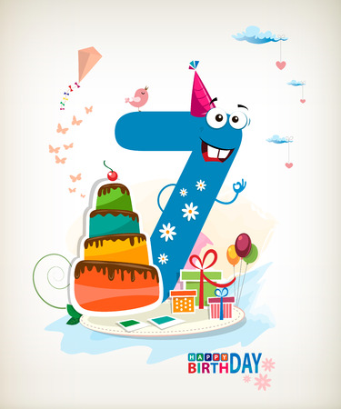 Seventh Birthday card. Vector