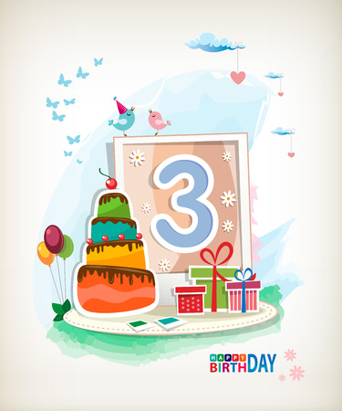 Third Birthday card. Birthday cake and photos Vector