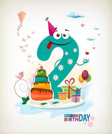Second Happy Birthday card. Vector