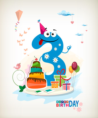 Third Birthday card. Vector