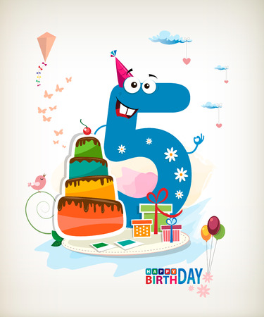 Fifth Birthday card. Color card. Vector
