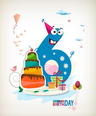 sixth: Sixth Birthday card. Illustration