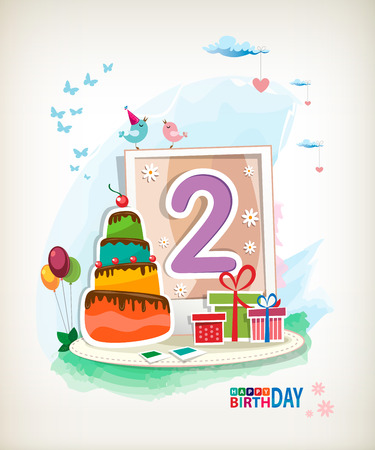 Second Happy Birthday card. Birthday cake and photos Vector