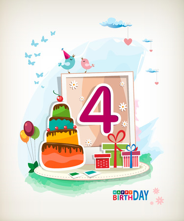 Fourth Birthday card. Birthday cake and photos Vector