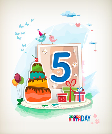 Fifth Birthday card. Birthday cake and photos Vector