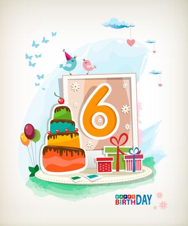 sixth birthday: Sixth Birthday card. Birthday cake and photos Illustration