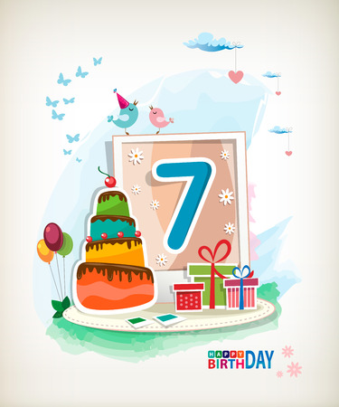 Seventh  Birthday card. Birthday cake and photos Vector
