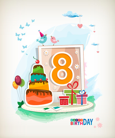 Eighth  Birthday card. Birthday cake and photos Vector