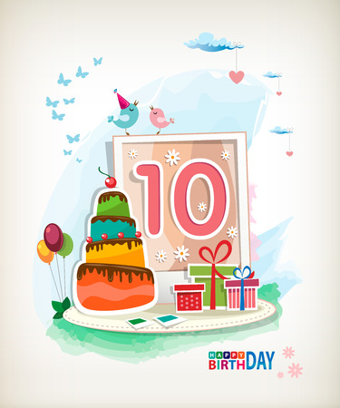 tenth birthday: Tenth Birthday card. Birthday cake and photos