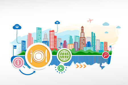 Plate, fork and knife and cityscape background with different icon and elements. Design for the print, advertising. Vector