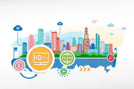 LCD tv full HD and cityscape background with different icon and elements. Design for the print, advertising. Vector