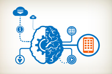 Mobile phone and abstract human brain, the concept of the information movement Vector