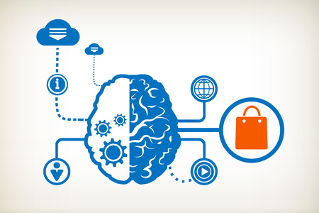 Shopping bag and abstract human brain, the concept of the information movement Vector