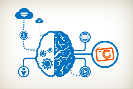 Photo camera and abstract human brain, the concept of the information movement Vector