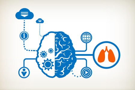 Lungs and abstract human brain, the concept of the information movement Vector