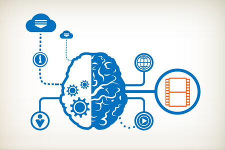 Film and abstract human brain, the concept of the information movement Vector