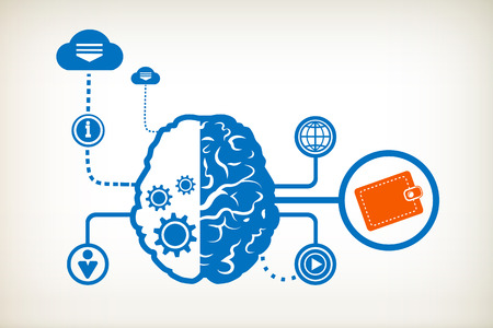 Purse and abstract human brain, the concept of the information movement Vector