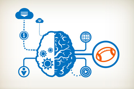 Rugby and abstract human brain, the concept of the information movement Vector