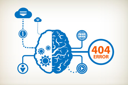404 error. Page not found and abstract human brain, the concept of the information movement  Vector
