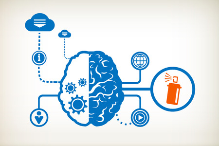Spray with chemicals and abstract human brain, the concept of the information movement Vector
