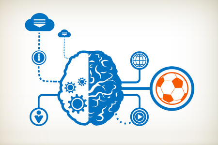 bal: Football bal and abstract human brain, the concept of the information movement