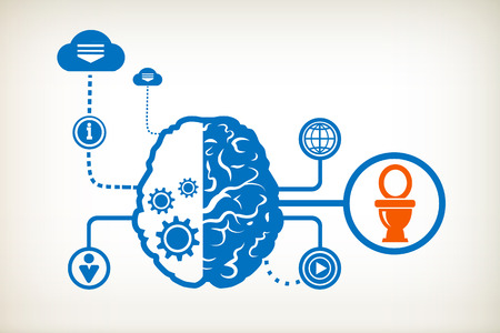 Toilet symbol and abstract human brain, the concept of the information movement Illustration